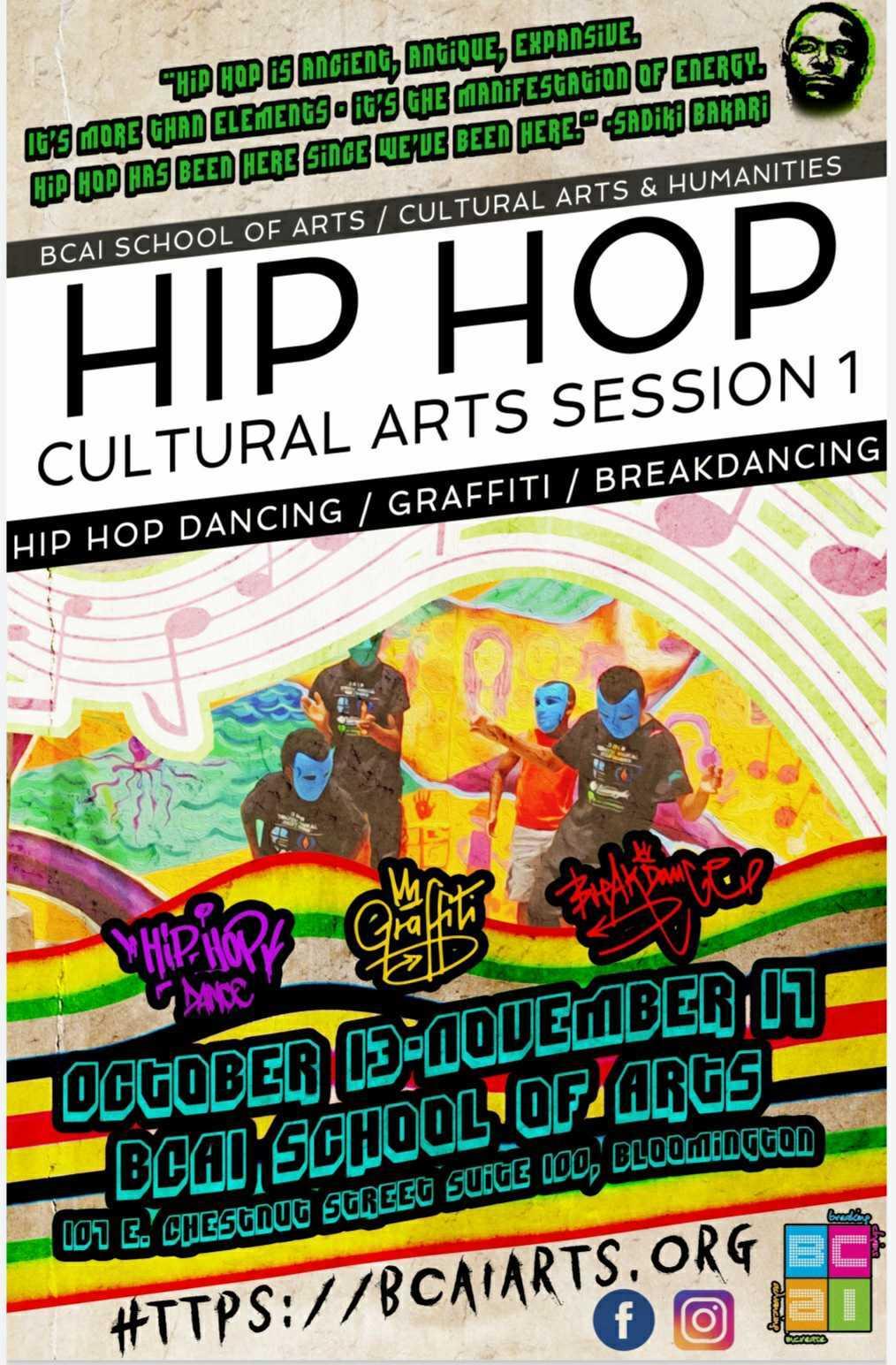 flyer for hip hop cultural arts session at bcai