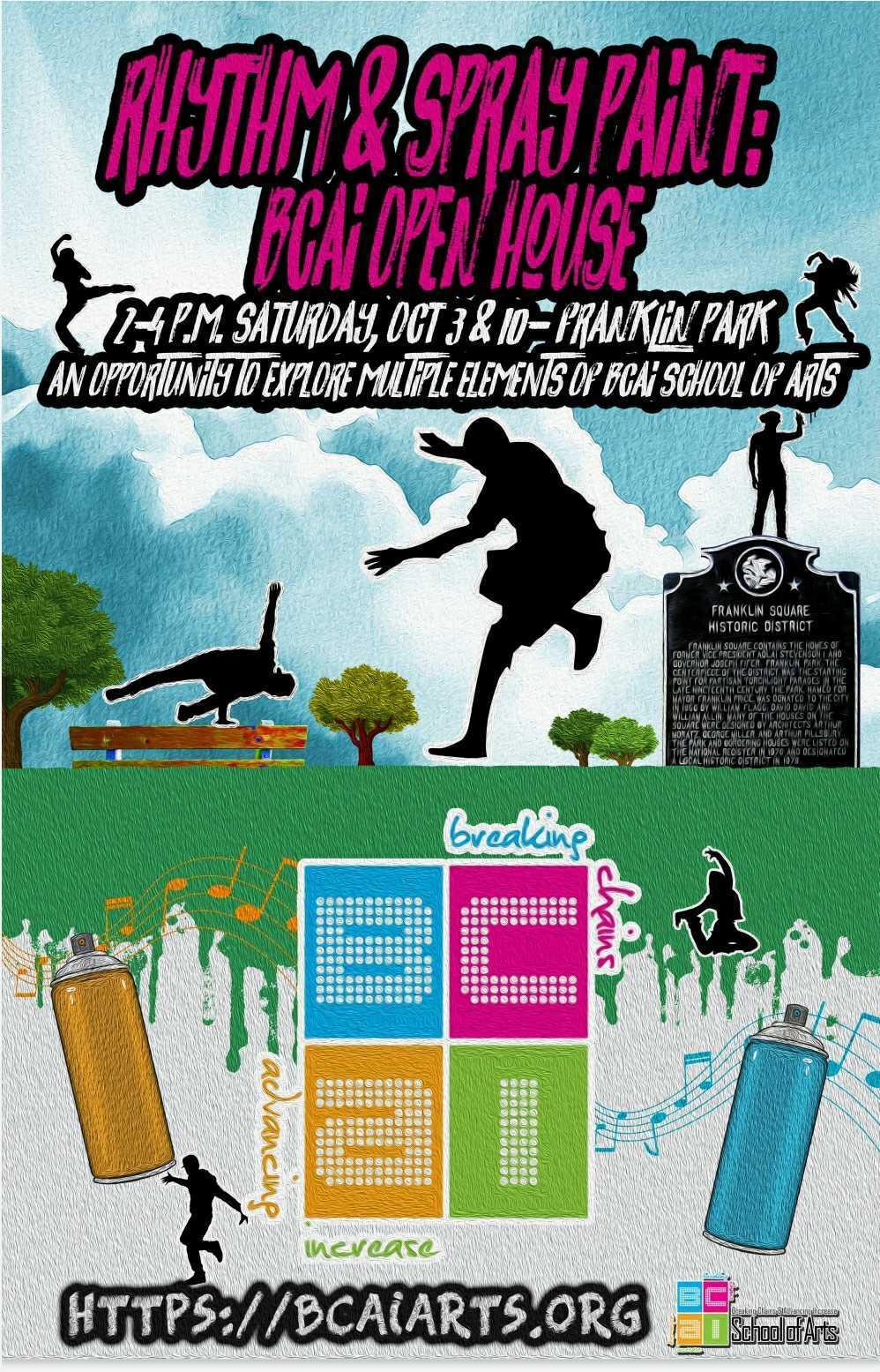 flyer for rhythm & spraypaint open house event